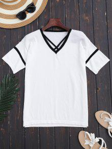 Color Block Criss Cross Knitting Top - White
