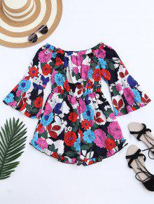 Flare Sleeve Floral Off The Shoulder Romper - Floral S