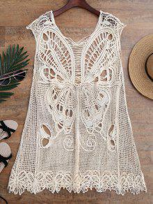 Vestido Envuelto De Túnica De Ganchillo En Forma De Mariposa - Beis