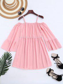 Chiffon Cold Shoulder Mini Dress - Pink S