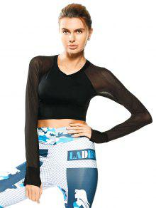 Mesh Panel Cropped Sporty Thumbhole Top - Black S