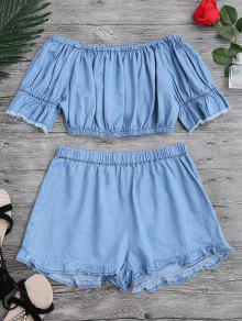 Off The Shoulder Cropped Top And Ruffles Shorts - Blue L
