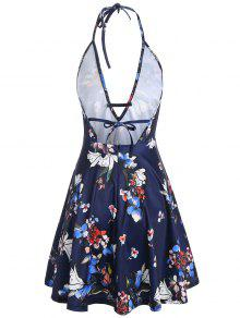 38% OFF  2019 Backless Halter Plunging Neckline Floral Dress In DEEP ... ca021aa99