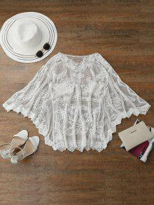 Sheer Tulle Beach Cover Up Dolman Top - White