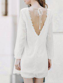 Solid Color Round Collar Long Sleeve Chiffon Dress - White Xl