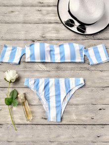 Striped Off The Shoulder Bikini Set - Blue M