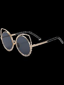 Rhinestone Round Hollow Out Cat Eye Sunglasses - Black And Grey