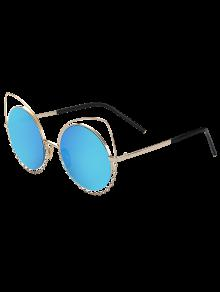 Rhinestone Round Hollow Out Cat Eye Sunglasses - Blue