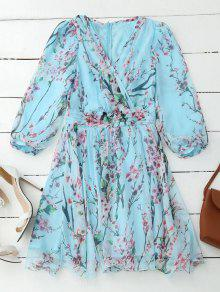 Floral Surplice Flowy Dress - Pinkish Blue S