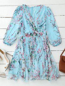 Floral Surplice Flowy Dress - Pinkish Blue L