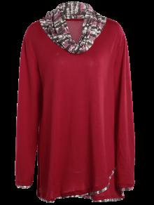 6753ba3ba19 35% OFF  2019 Overlay Cowl Neck Plus Size Blouse In DEEP RED 4XL