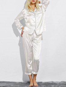Fitting Silk Nightwear Pajamas - White M