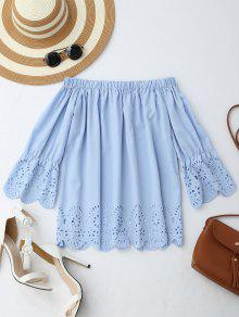 Off The Shoulder Laser Cut Top - Light Blue S