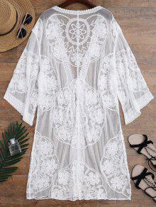 Sheer Lace Tie Front Kimono Cover Up