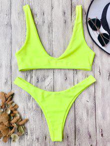 Traje De Bikini Con Escote En U Con Tiro Alto - Neón Amarillo S