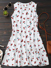 Vestido Cerezas Con Volantes Sin Mangas - Blanco M