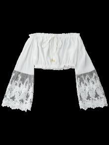 Panel Blanco De Blusa Con Aire De Al S Recortada Malla Hombros xzzYH1fq