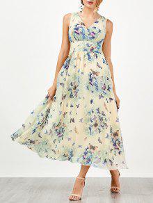 Bohemian Fluido Vestido De Playa Con Estampado De Mariposa - Palomino Xl