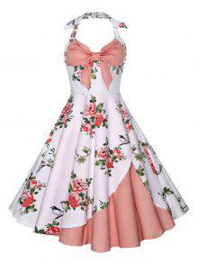 A فستان رسن الرقبة طباعة الأزهار كلاسيكي بخط - زهري M