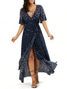 فستان ماكسي غارق الرقبة لف انقسام كهنوتي - الأرجواني الأزرق S