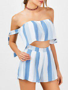 Strapless Stripe Crop Top And High Waisted Shorts - Blue And White L