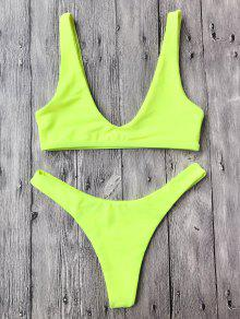 40d9bf45f94c3 32% OFF] [HOT] 2019 High Cut Neon Bikini Set In NEON YELLOW | ZAFUL