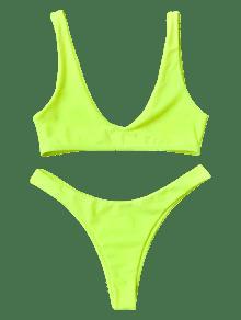 [HOT] 2019 High Cut Neon Bikini Set In NEON YELLOW S | ZAFUL