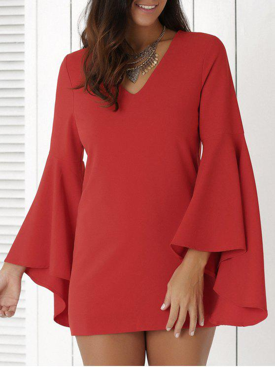 latest Solid Color Plunging Neck Flare Sleeve Sheath Sexy Mini Dress - RED L