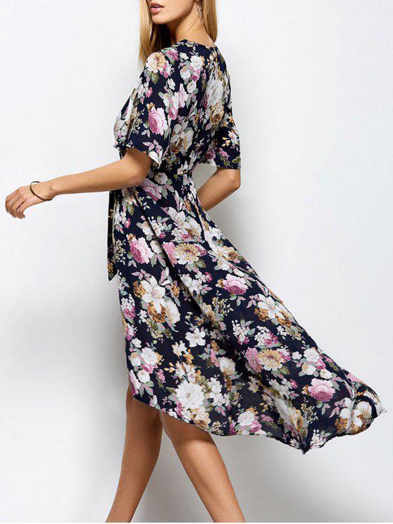 Robe avec fente au front à col V imprimé à motif floral - Floral M