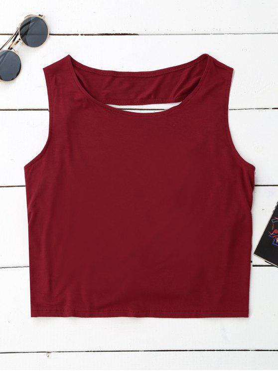 Crossover Backless Tank Top - Vino Rojo M