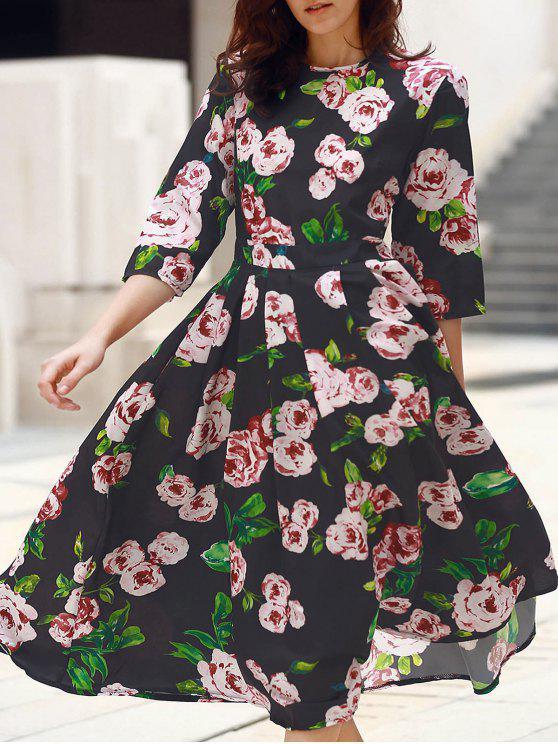 fashion 3/4 Sleeve Floral Print Midi Dress - BLACK S