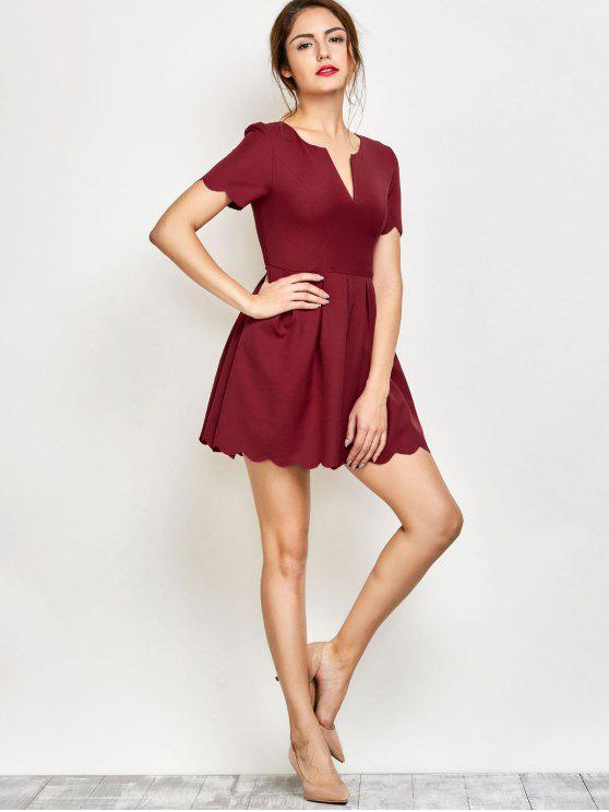 latest Ruched Scalloped A-Line Dress - RED S