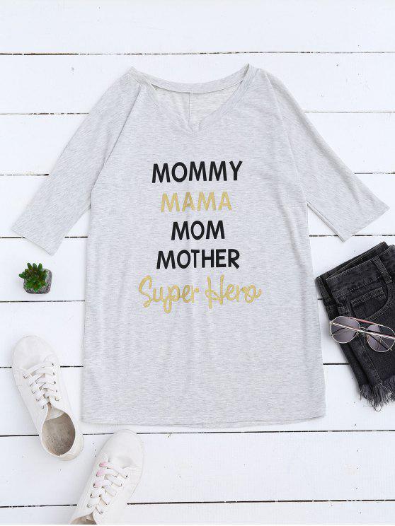 T-Shirt long droit ample imprimé lettres mom - Gris Clair XL
