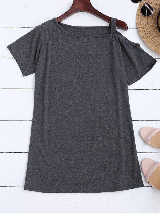 sale One Shoulder Longline T-Shirt - DEEP GRAY M