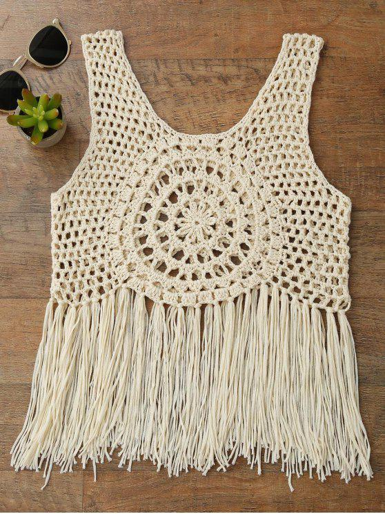womens Tassels Crochet Cover Up Top - BEIGE L