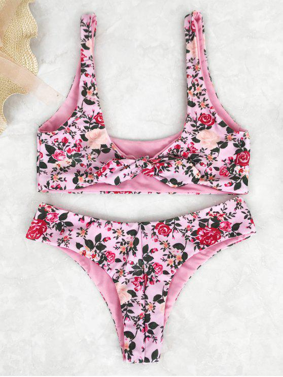 lady Knotted Floral Print Scoop Bikini Set - PINK S