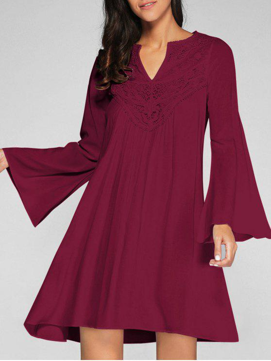 fancy Flare Sleeve Trapeze Dress - WINE RED L