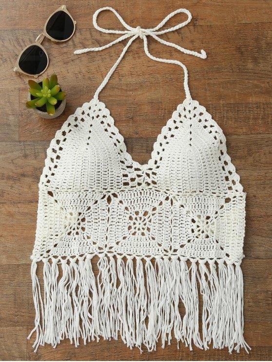 Tassels Crochet Bralette Bikini Top - White