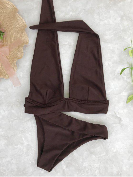 trendy Halter Midi Plunge Bikini Top and Bottoms - COFFEE S
