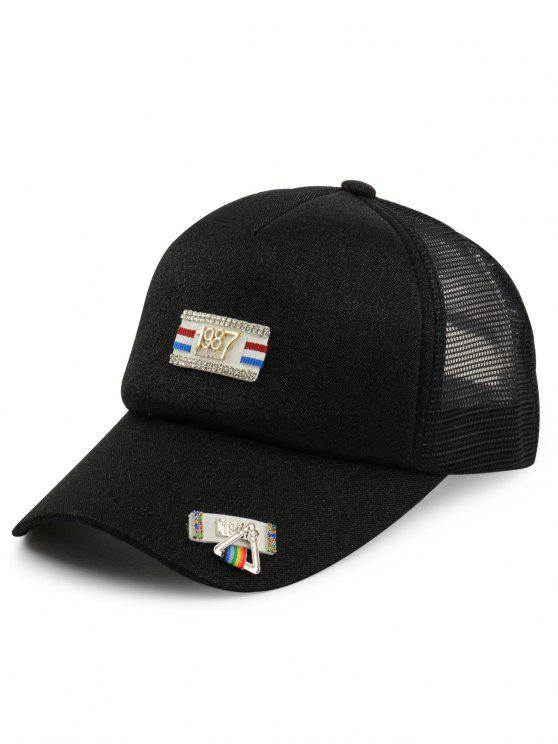 82695e14362 sale Tiny Rectangle Metal Numbers Patchwork Baseball Hat - BLACK ONE SIZE