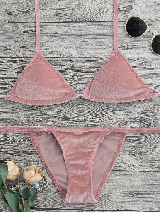 shop Halter Velvet Thong Bikini Set - PINK M