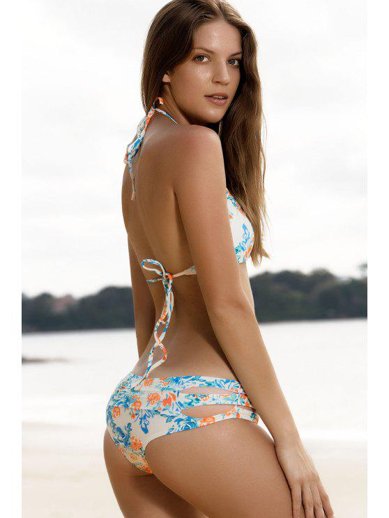 affordable High-Cut Floral Print Stringy Bikini Set - COLORMIX L