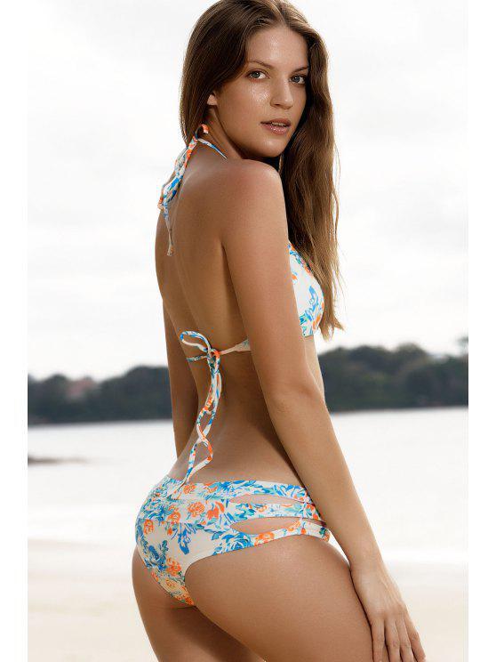Traje de Bikini de Cordones con Estampado Floral con Abertura Alta - Colormix S