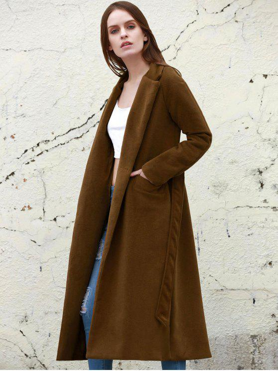 womens Lapel Solid Color Long Overcoat - CAMEL L
