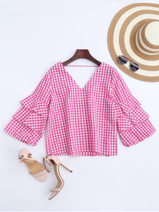 online Ruffles Checked Choker Top - CHECKED L