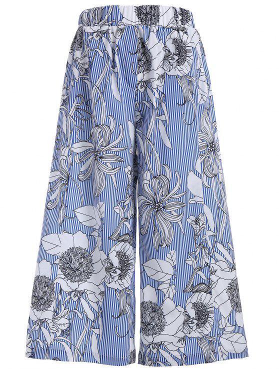 Pantalones anchos de las rayas florales de la pierna - Colores Mezclados S