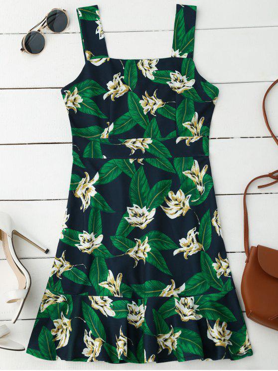 chic Floral Print Ruffle Hem Sleeveless Dress - PURPLISH BLUE XL