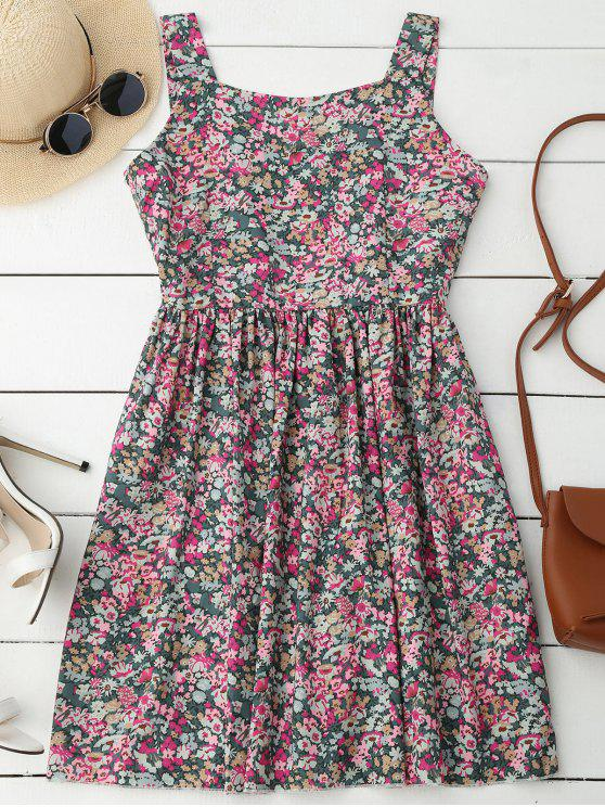 sale Floral Sleeveless Dress - FLORAL L