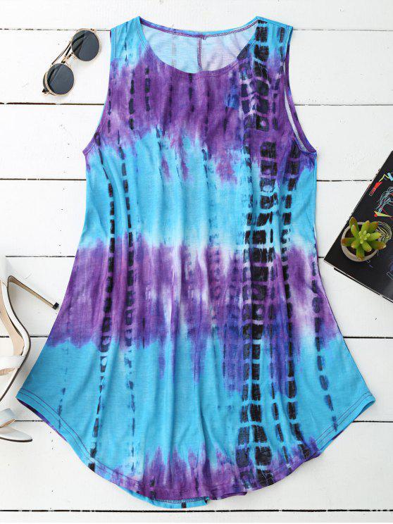 Robe manches courtes en trapèze sans manches - Multicolore S