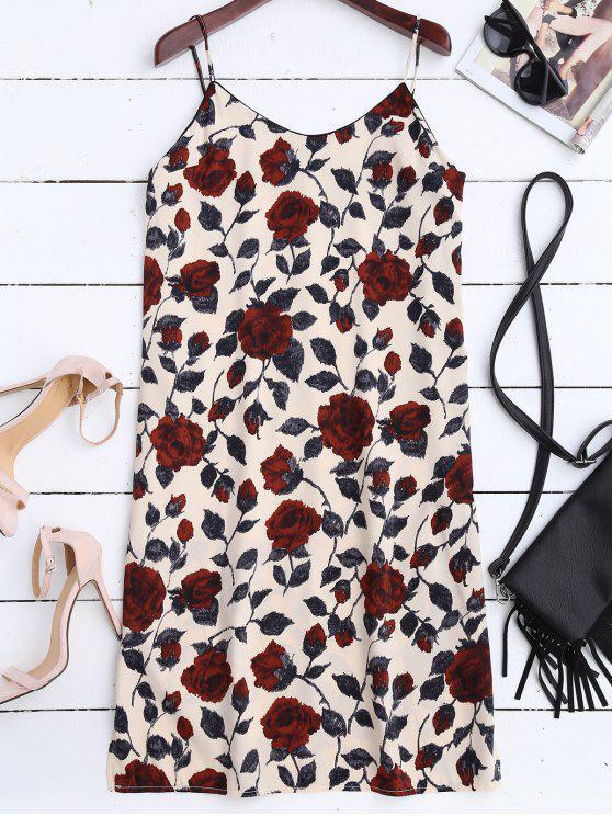 hot Slit Floral Casual Slip Dress - FLORAL S